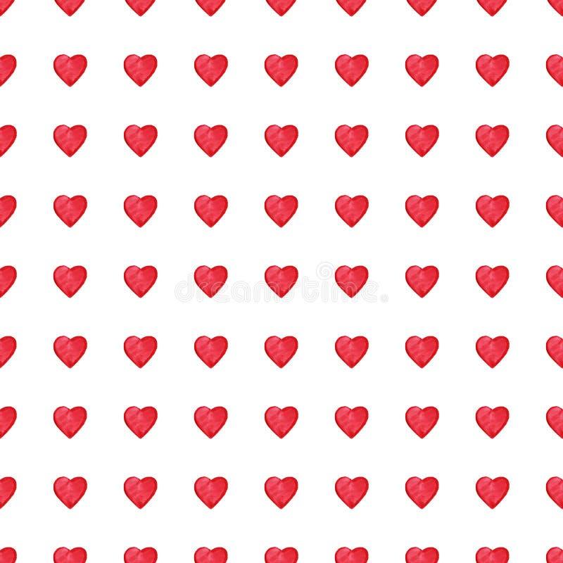 Valentin för röda hjärtor för vattenfärg Sankt sömlös modell för dag royaltyfri illustrationer
