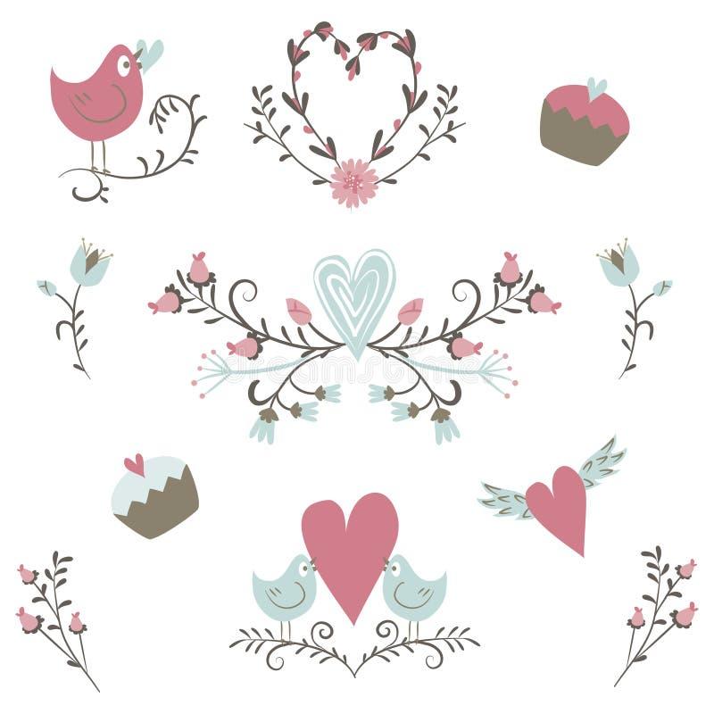 valentin för samlingsdag s Vektorfåglar, hjärtor, blommor och andra beståndsdelar tecknad hand Enkelt och gulligt vektor illustrationer