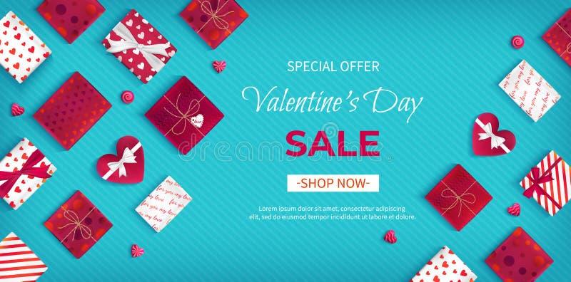 Valentin för specialt erbjudande dag Sale Rabattreklamblad, stor säsongsbetonad försäljning Horisontalrengöringsdukbaner med mång royaltyfri illustrationer