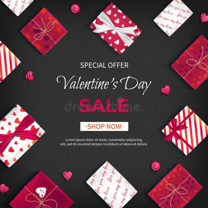 Valentin för specialt erbjudande dag Sale Rabattreklamblad, stor säsongsbetonad försäljning Rengöringsdukbaner med feriegåvaaskar stock illustrationer