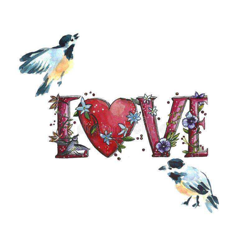 Valentin för vattenfärg lyckligt kort för hälsning för dag stock illustrationer