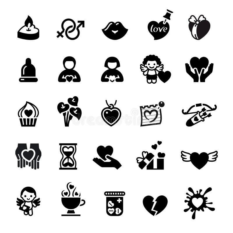 valentin för tecken för romantiker s för dagsymbolsförälskelse set stock illustrationer