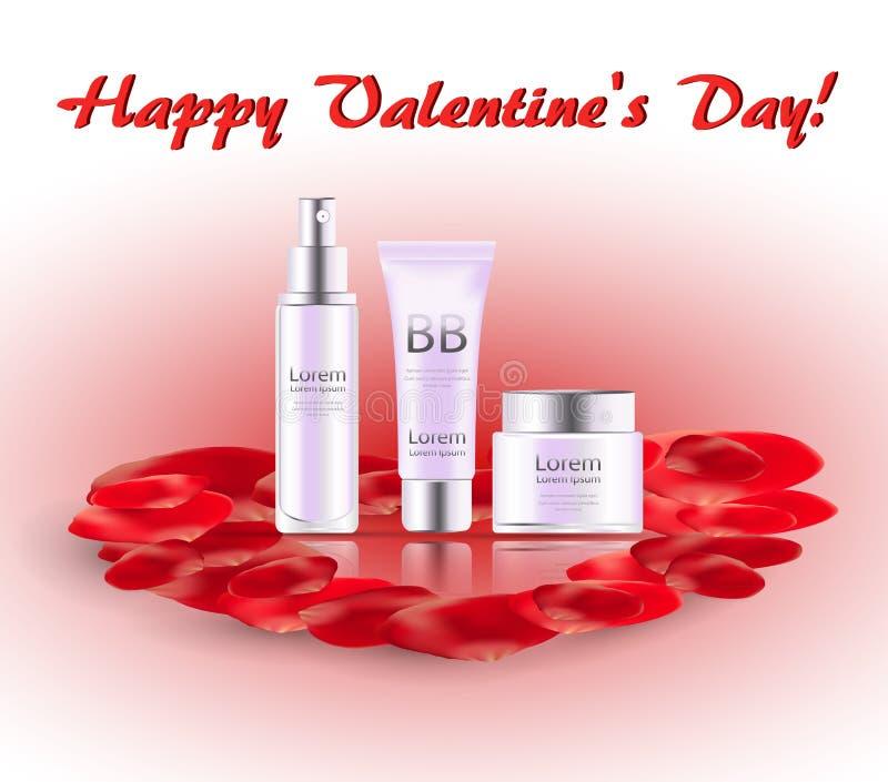 Valentin hälsa kort med den rosa kronblad- och skönhetsmedeluppsättningen vektor illustrationer