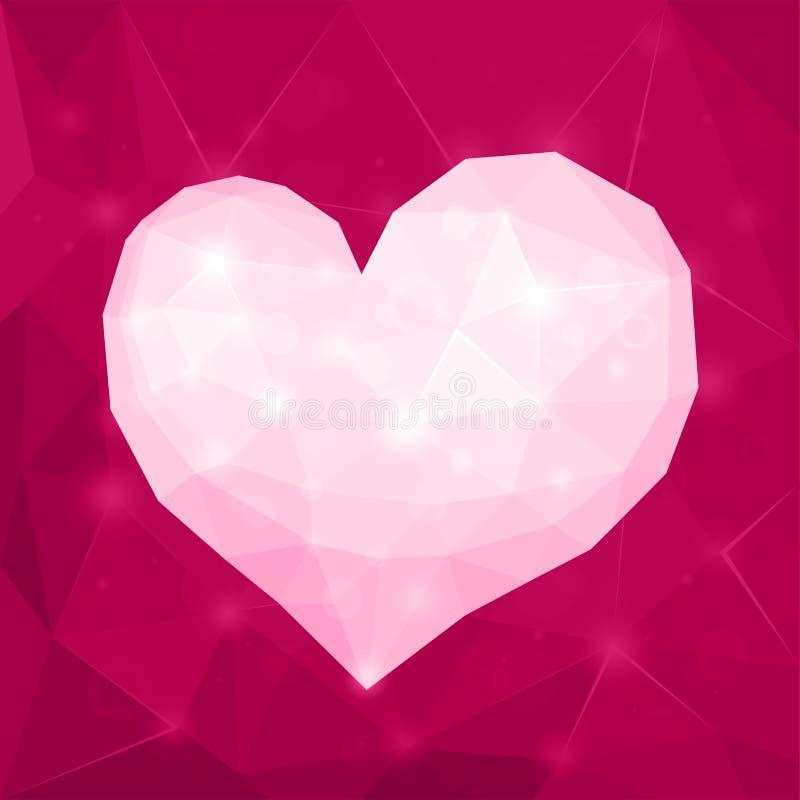 Valentin hjärta för abstrakt begrepp för dagdesign polygonal geometrisk skinande vit på violett bakgrund royaltyfri illustrationer