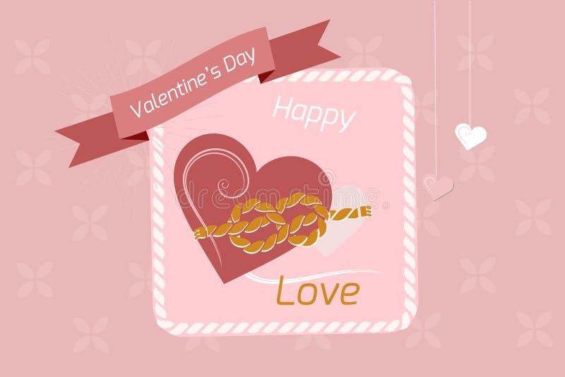 Valentin hjärta för dagbakgrund som paras med ett rep av band, vektorbilder Tapet reklamblad, inbjudan, affisch, broschyr, royaltyfria foton