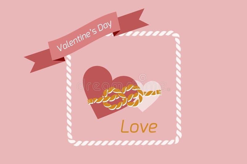 Valentin hjärta för dagbakgrund som paras med ett rep av band, vektorbilder Tapet reklamblad, inbjudan, affisch, broschyr, arkivbild
