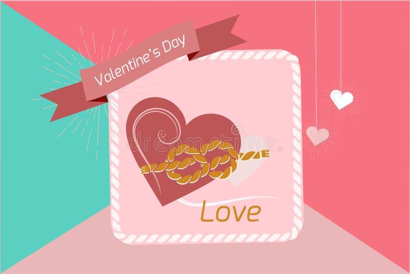 Valentin hjärta för dagbakgrund som paras med ett rep av band, vektorbilder Tapet reklamblad, inbjudan, affisch, broschyr, arkivfoton