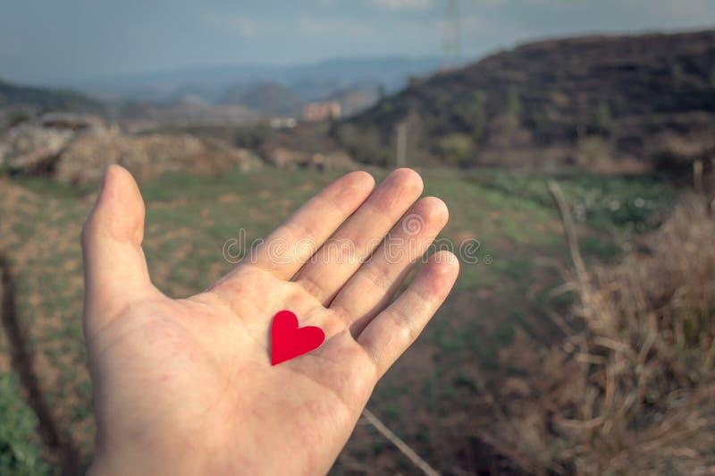 Valentin hjärta för dagförälskelse i hand royaltyfri foto