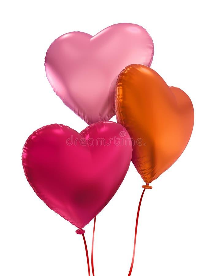 Valentin hjärtor för ballong för dag isolerade färgrika stock illustrationer