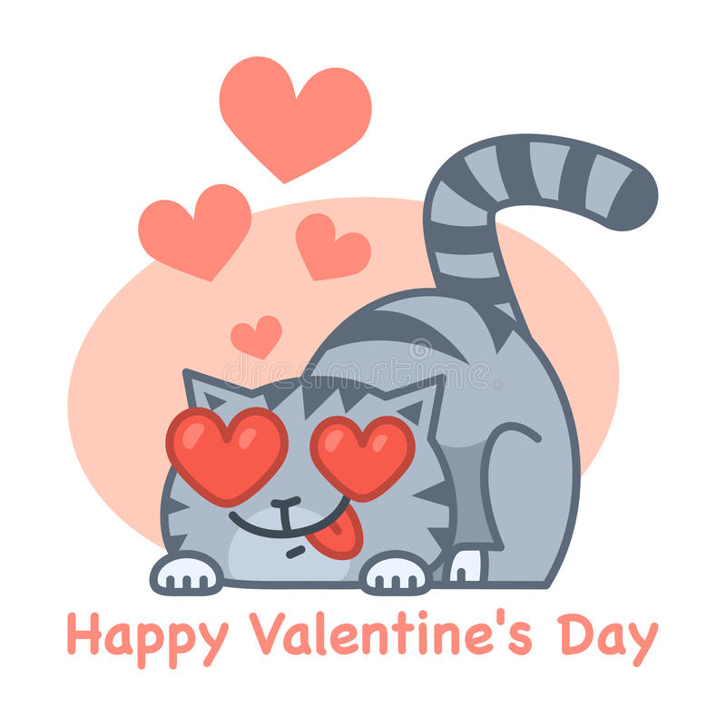 Valentin katt för dagförälskelse vektor illustrationer