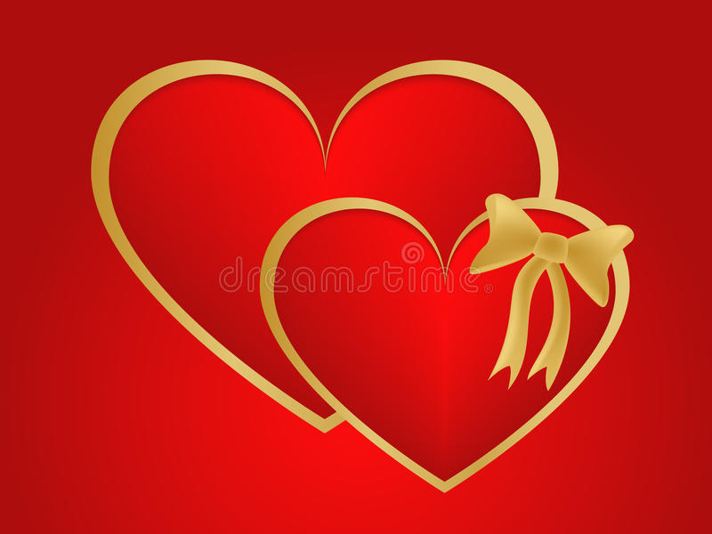 Valentin kopplar samman guld- hjärtor royaltyfri foto