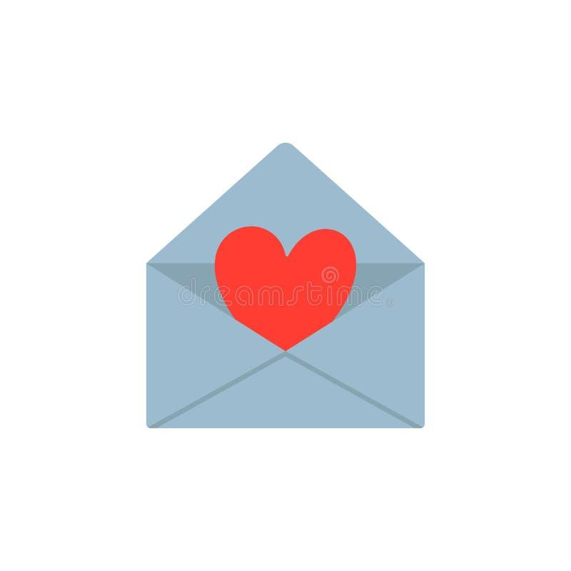 Valentin kort för daghälsning, inbjudan Förälskelsebokstav, kuvert med hjärta Plan design också vektor för coreldrawillustration vektor illustrationer