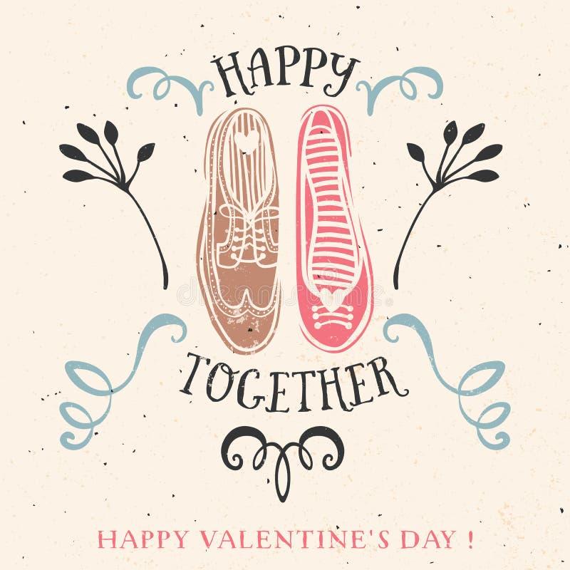 Valentin kort för daghälsning med bokstäver vektor illustrationer