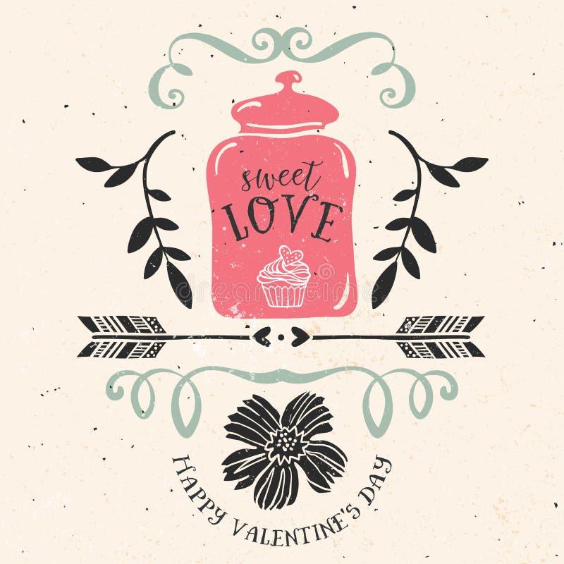 Valentin kort för daghälsning med bokstäver royaltyfri illustrationer