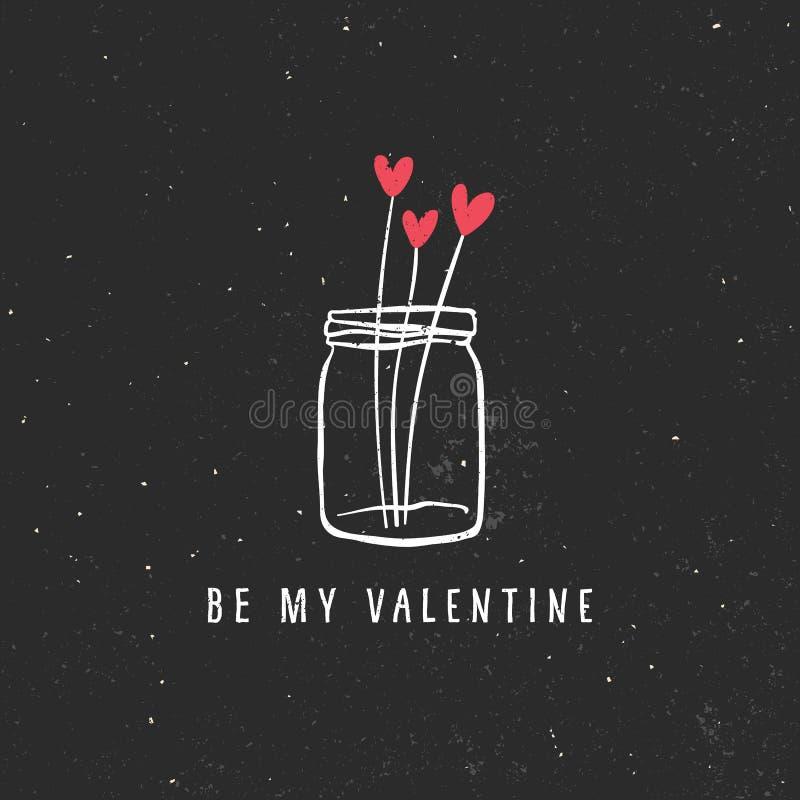 Valentin kort för daghälsning med buketten av hjärtor royaltyfri illustrationer