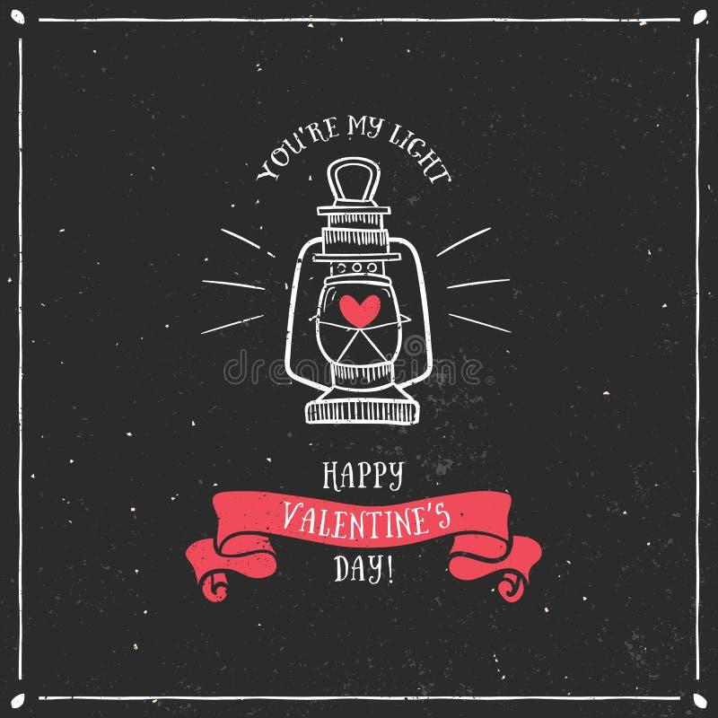 Valentin kort för daghälsning med lampan och bokstäver royaltyfri illustrationer