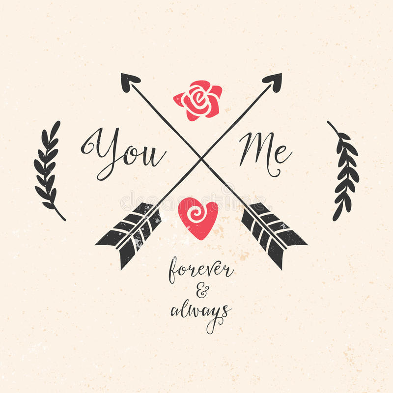 Valentin kort för daghälsning med pilar, bokstäver royaltyfri illustrationer