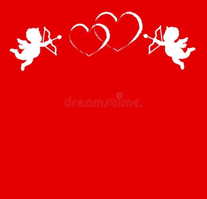 Valentin kort för daghälsning med två kupidon och hjärtor stock illustrationer