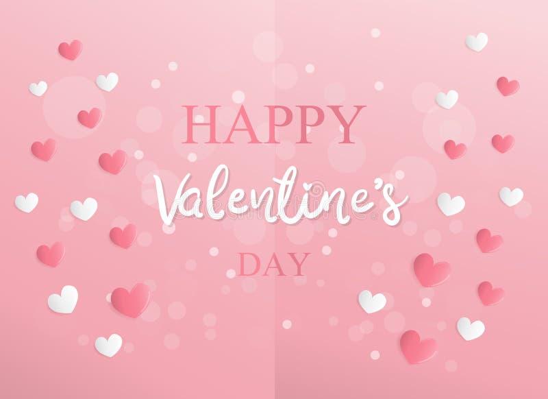 Valentin kort med hjärtabegrepp i pappers- klippt stilvektorillustration royaltyfri illustrationer