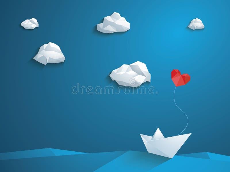 Valentin mall för design för dagkort Det låga poly pappers- fartyget med hjärta formade ballongen som seglar över vågorna Blå him royaltyfri illustrationer