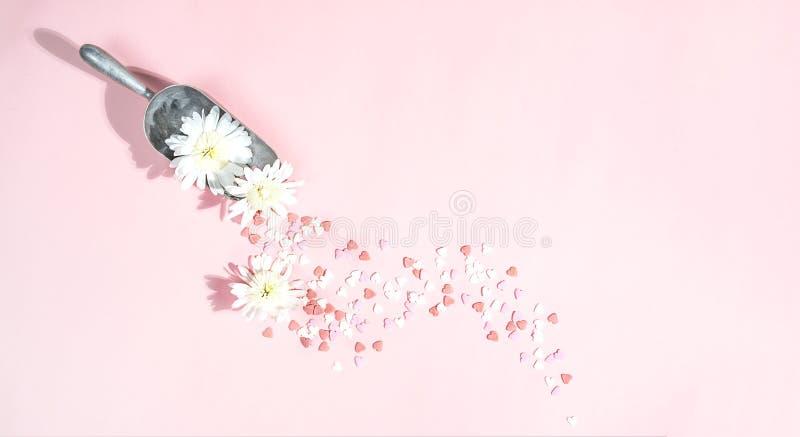 Valentin orientering för daggarnering på pastellfärgad rosa bakgrund med blommor, hjärtor och kökutrustning Minsta förälskelseval arkivfoton