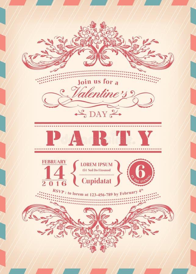 Valentin parti för dagkort med ramen och flygpost gränsen för tappning stock illustrationer