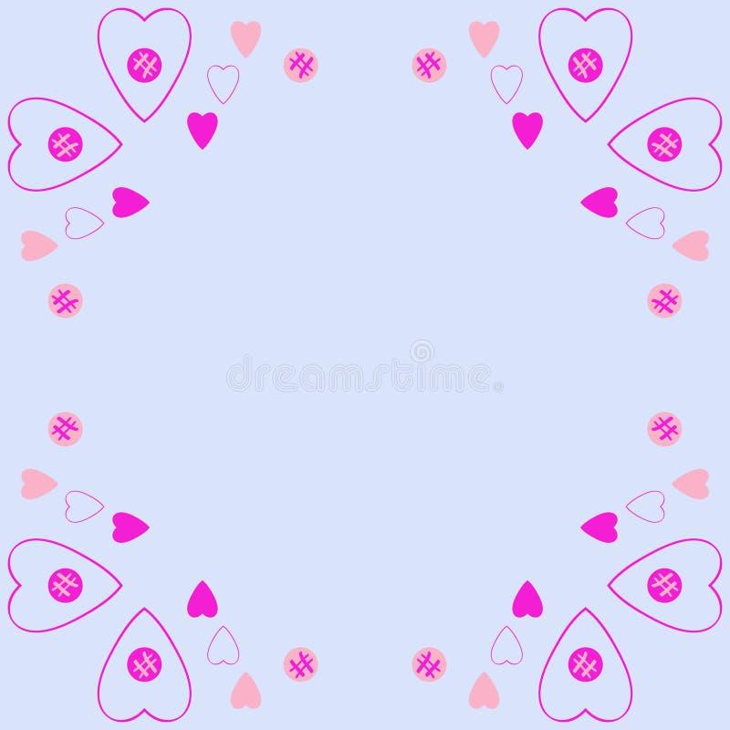 Valentin pattern,hearts,ellipses, scribbles, copy space. Hand dr. Valentin colored pattern,hearts,ellipses, scribbles, copy space. Hand drawn royalty free illustration