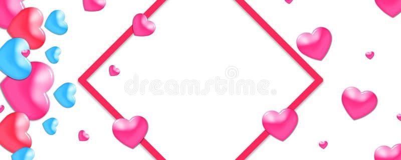 Valentin planlägger, färgrika hjärtor på vit bakgrund med gränsen och kopieringsutrymme Valentin dag, vektor illustrationer