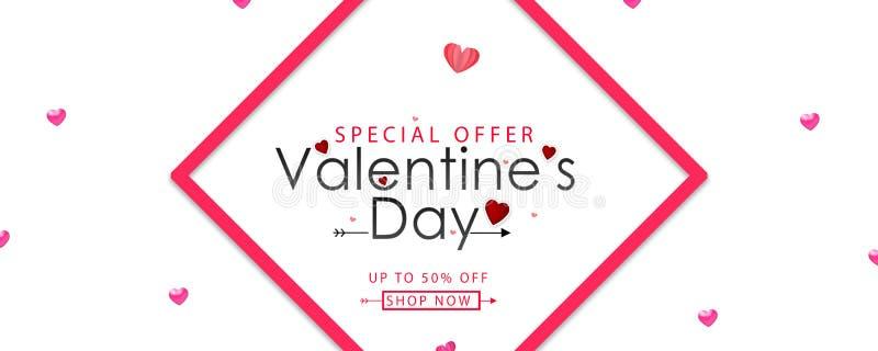 Valentin planlägger, rosa hjärtor på vit bakgrund, lycklig valentins dagtext i mitt med gränsen stock illustrationer