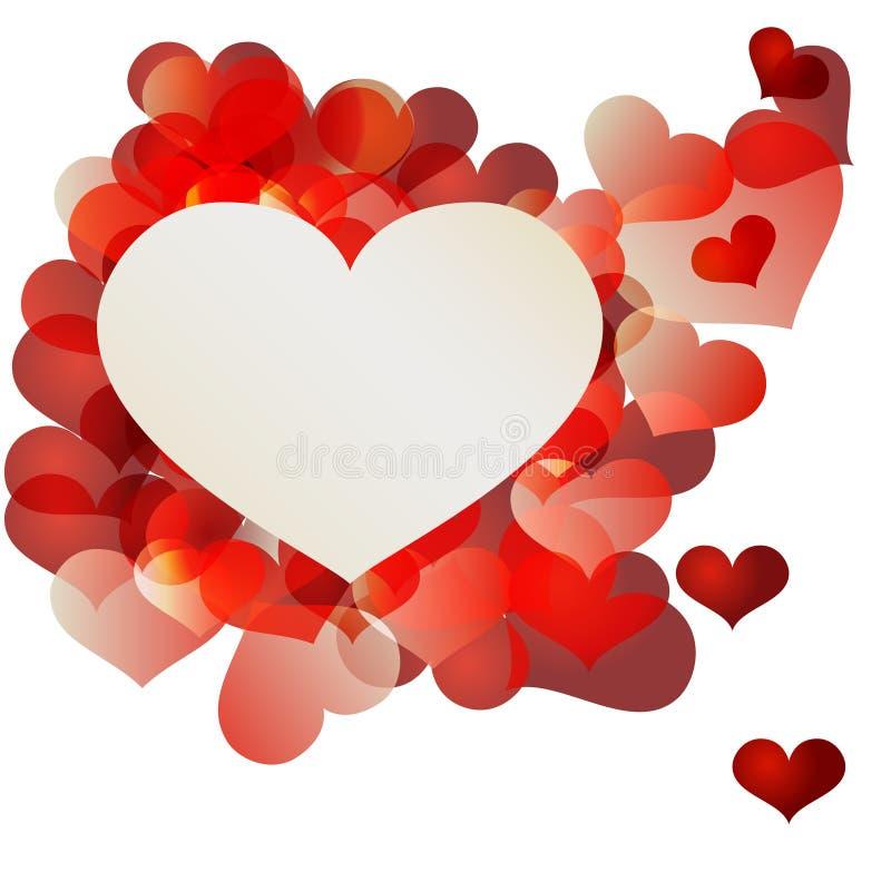 Valentin röd hjärtaabstrakt begrepp på grungebakgrund royaltyfri illustrationer