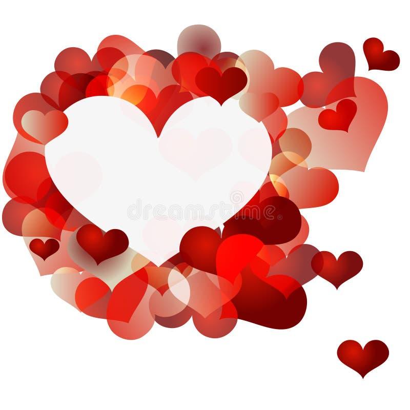 Valentin röd hjärtaabstrakt begrepp på grungebakgrund stock illustrationer