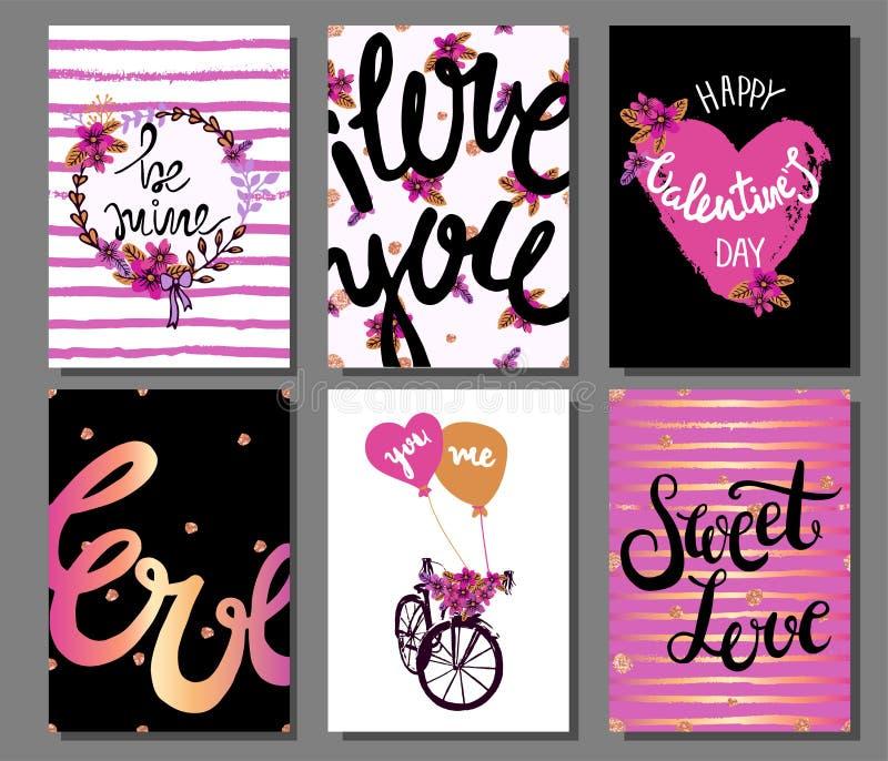 Valentin romantiska kort för dag med hjärtor, blommor, dragen hand stock illustrationer