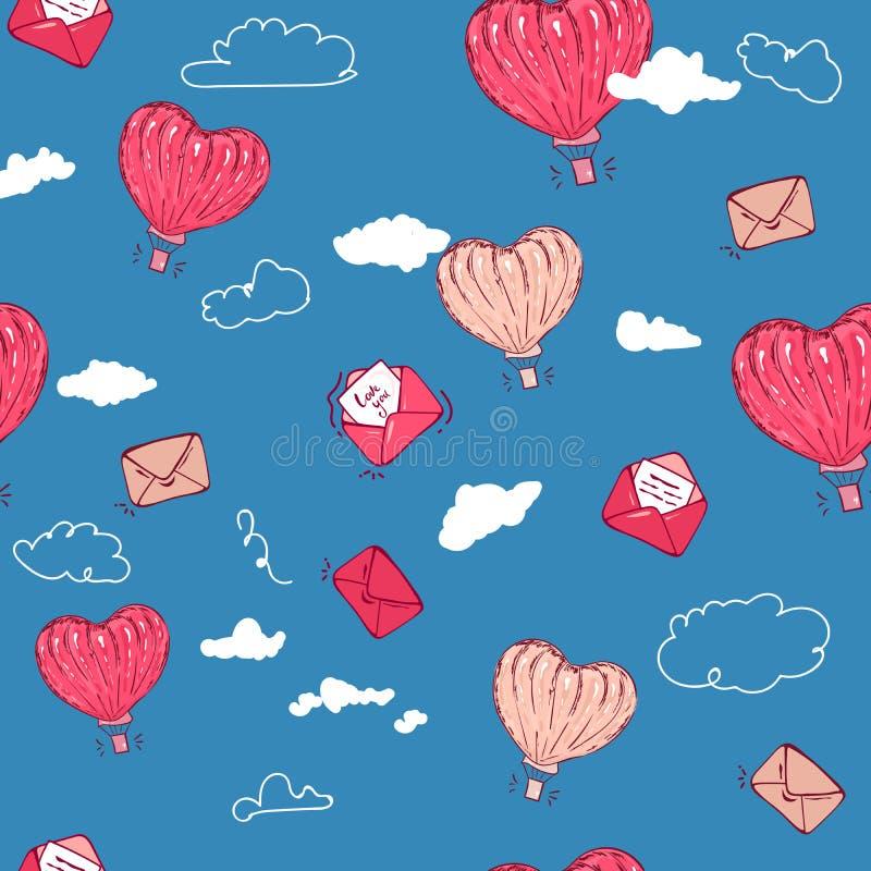 Valentin sömlös modell för dag med ballongen för varm luft med bokstaven, kuvertflyg för tapet tygdesign, webbsida vektor illustrationer