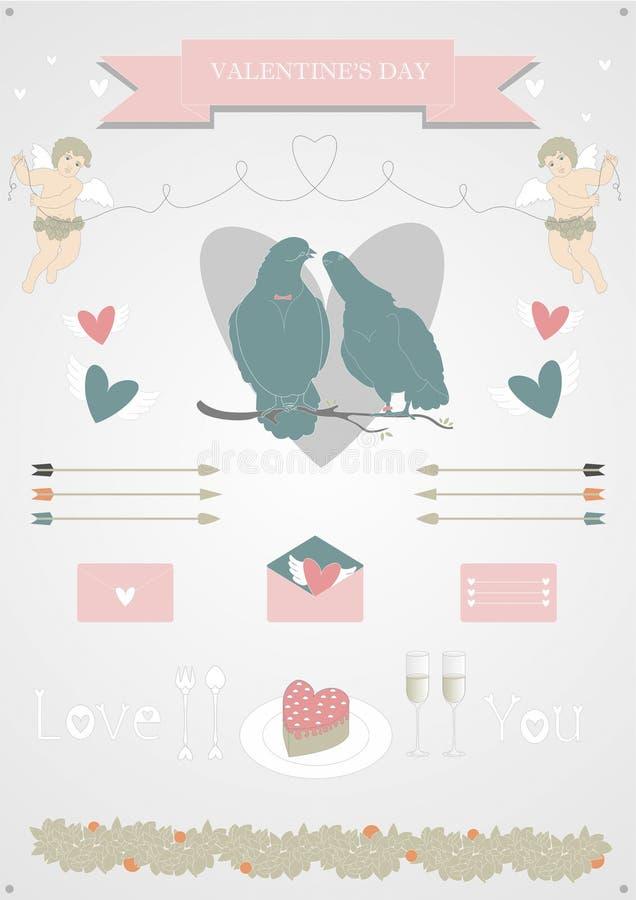 Download Valentin's  set stock illustration. Illustration of cupids - 36727743