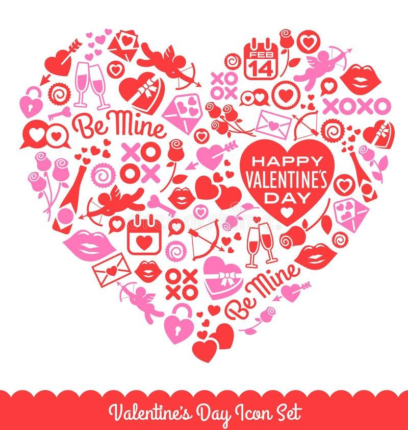 Valentin symboler för dagvektor royaltyfri illustrationer