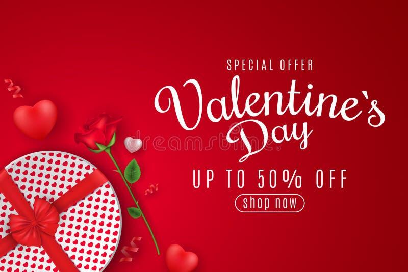 Valentin till salu baner för dagrengöringsduk Top beskådar Romantisk sammansättning med den runda asken för gåva och rosblomman h vektor illustrationer