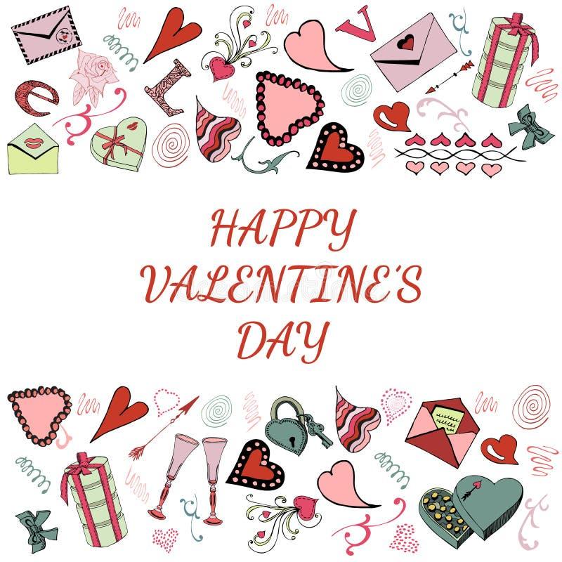 Valentin uppsättning för klotter för dagtema Förälskelsesymboler och hjärtor för hand utdragna bakgrund isolerad white stock illustrationer