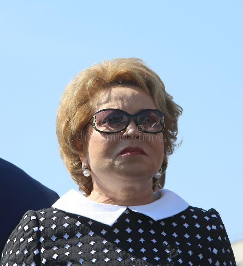 Valentina Matvienko Chairman del consejo de la federación de la asamblea federal de la Federación Rusa fotos de archivo libres de regalías