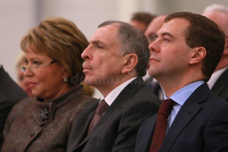 Valentina Matviyenko, Ilya Klebanov, Dmitry Medved royalty-vrije stock afbeelding