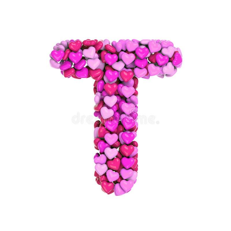 Valentinbokstav T - hjärtastilsort för stora bokstav 3d - som var passande för valentins dag, romantism eller passion, gällde ämn stock illustrationer