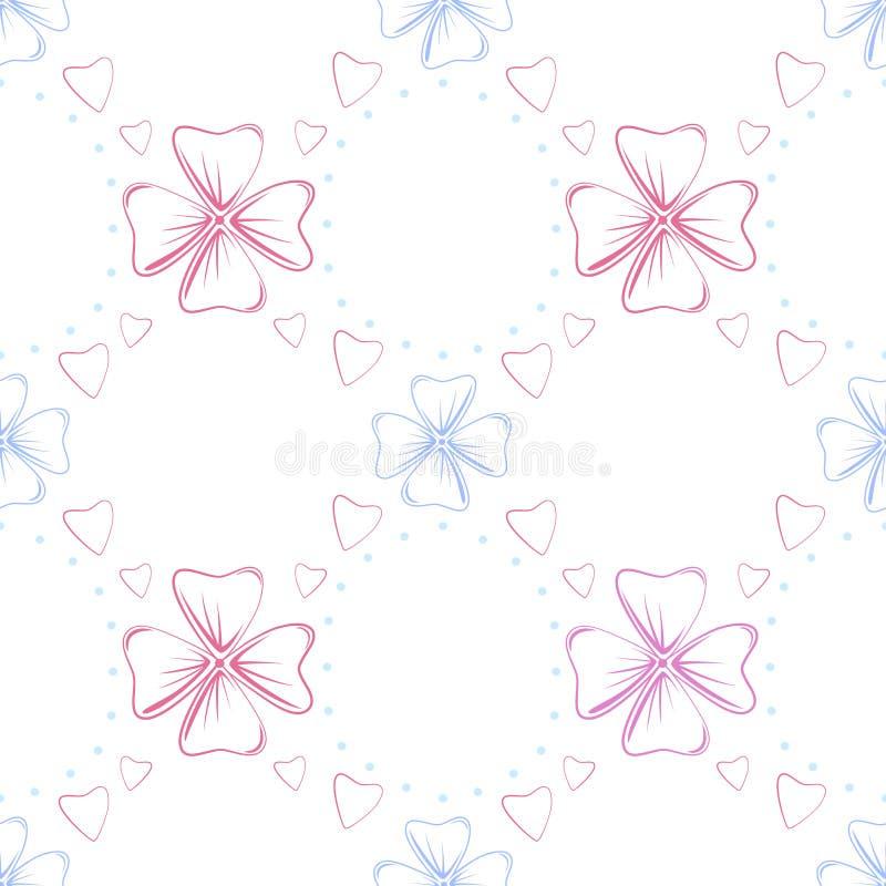 Valentindag eller gifta sig den blom- sömlösa modellen Försiktigt och härligt blommar hjärtor vektor vektor illustrationer