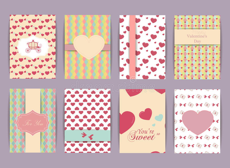 Valentindag och uppsättning för bröllopdag Tappning- och romantikerbakgrunder Samling för vektordesignmallar för baner, reklambla royaltyfri illustrationer