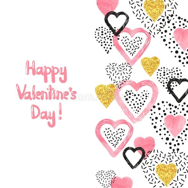 Valentindagbakgrund med abstrakta rosa hjärtor och ställe för text vektor illustrationer
