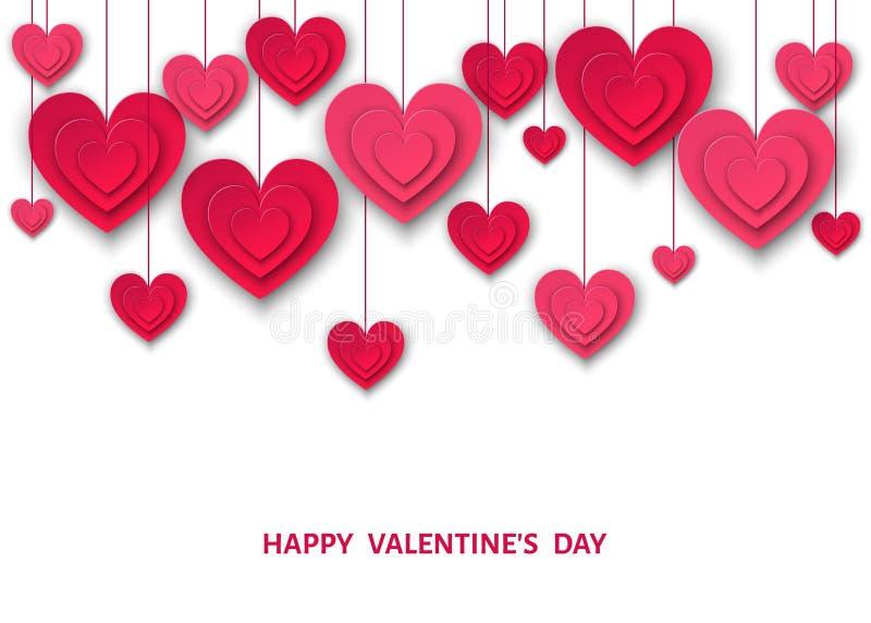 Valentindagbakgrund med hängande hjärtor för rosa färgsnittpapper royaltyfri illustrationer