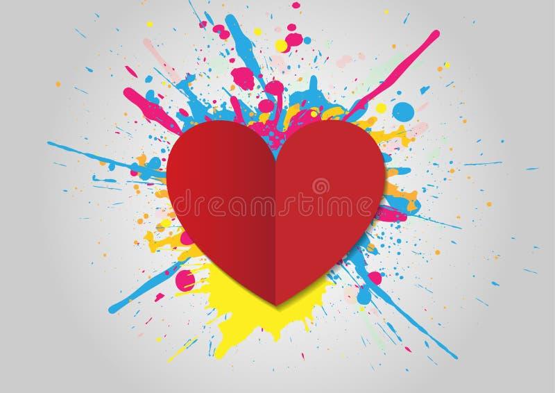 Valentindagbakgrund med hjärta och plaskar Vektorillu royaltyfri illustrationer