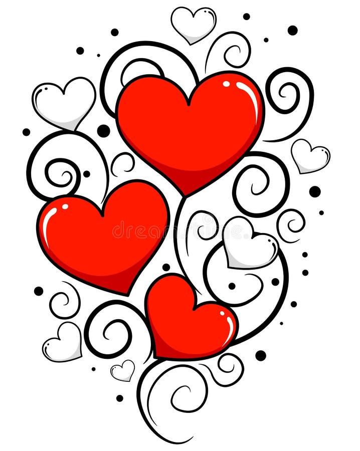 Valentindagbakgrund med hjärtavinrankan stock illustrationer