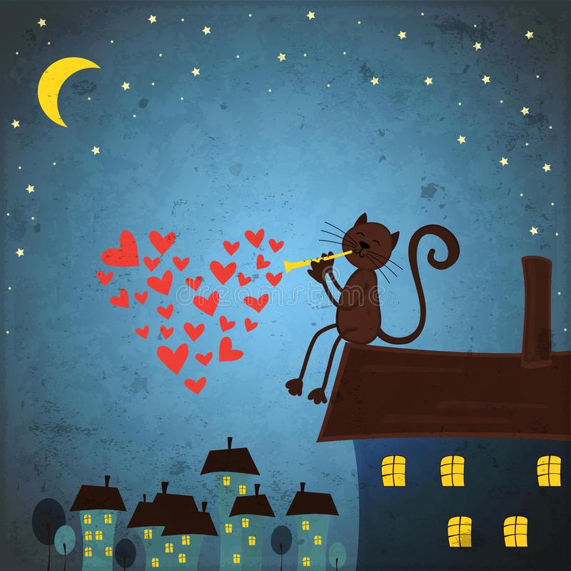 Valentindagbakgrund med katten och hjärta stock illustrationer