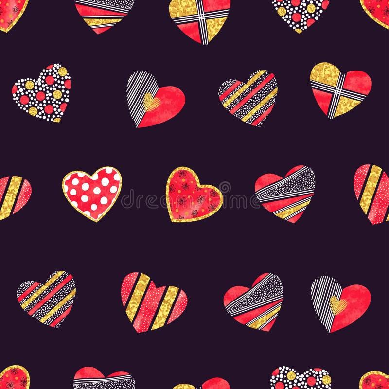 Valentindagbakgrund med mönstrade hjärtor vektor illustrationer
