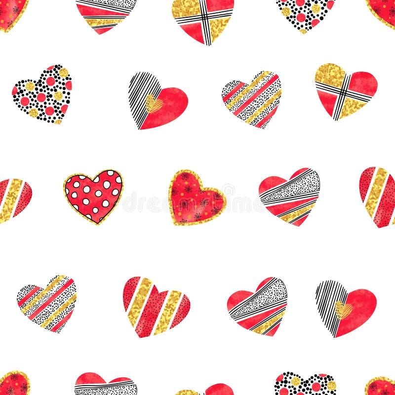 Valentindagbakgrund med mönstrade hjärtor stock illustrationer