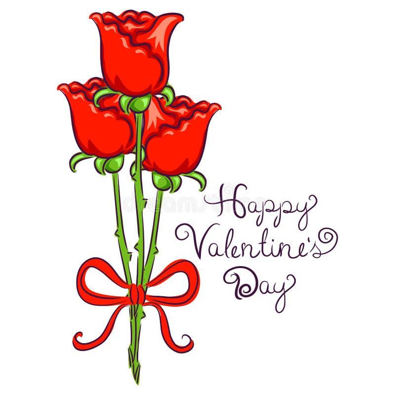 Valentindagbakgrund med rosen som binds i band vektor illustrationer